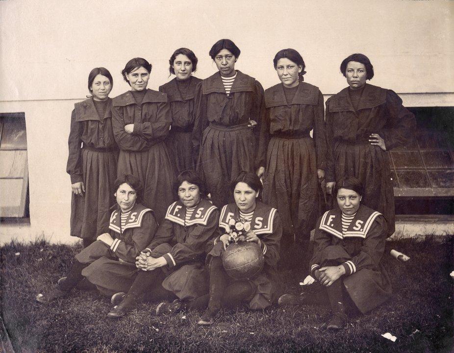 Fort Shaw Indian Boarding School girls basketball team 1904