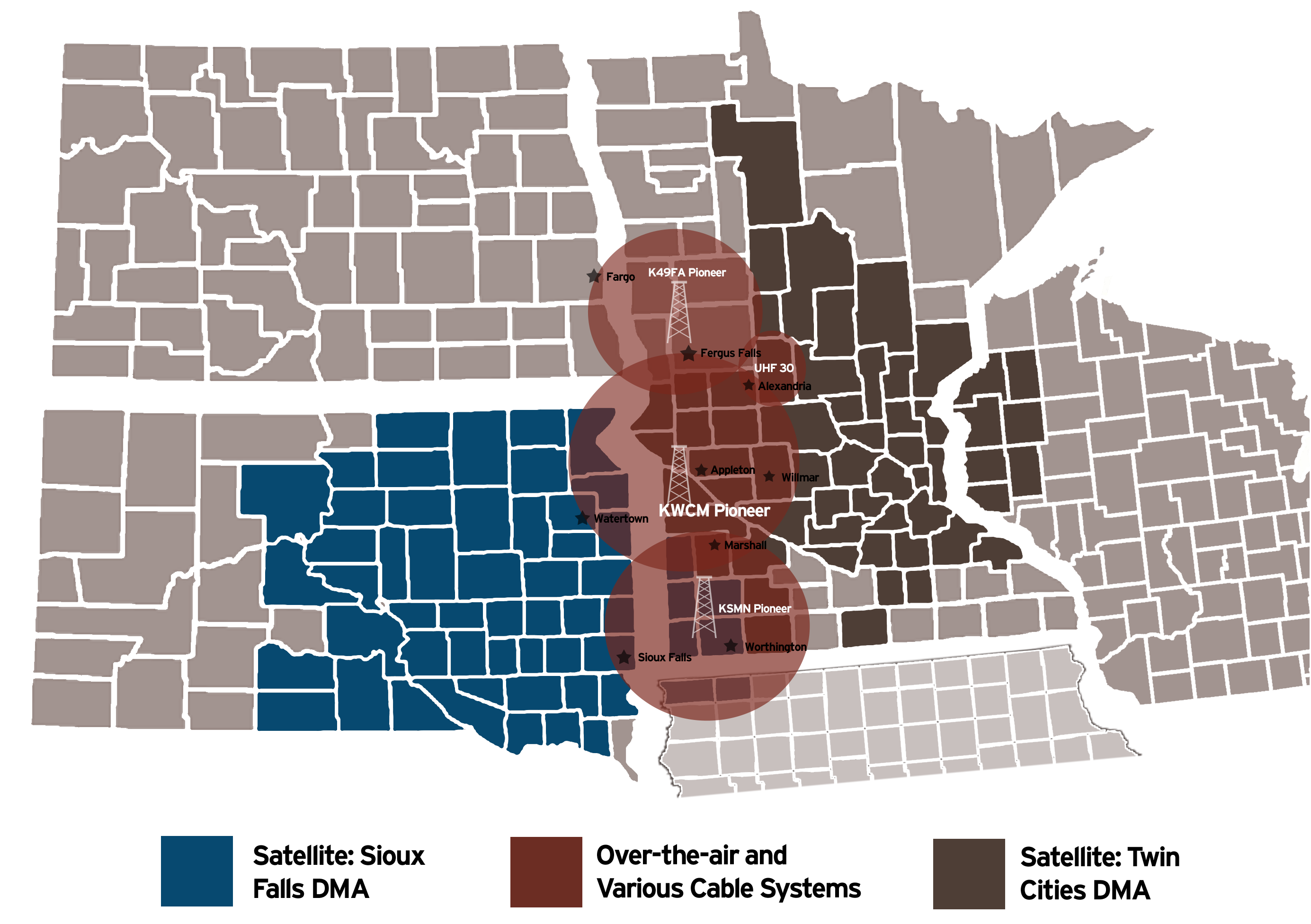Pioneer's coverage map