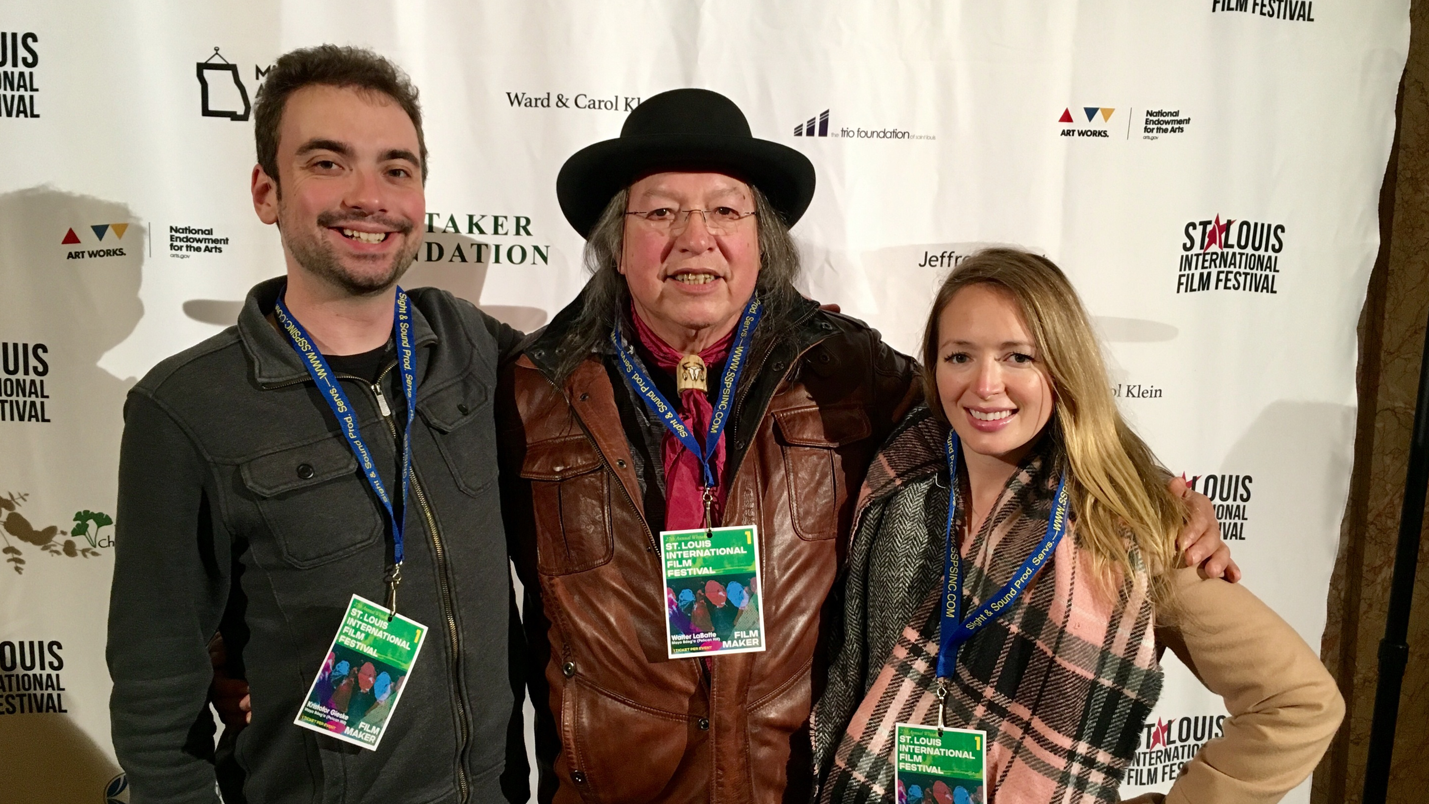 "Videographer Kristofor Gieske, storyteller Walter ""Super"" LaBatte Jr. and producer Dana Conroy."