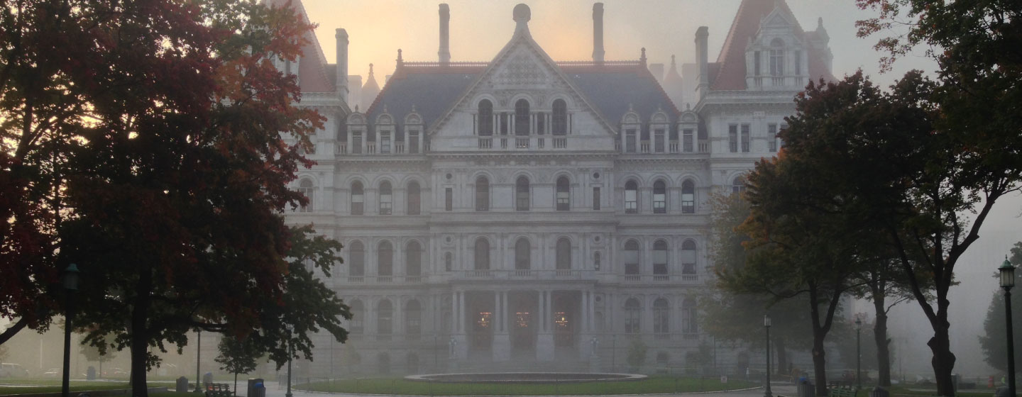 A foggy morning outside the New York State capitol