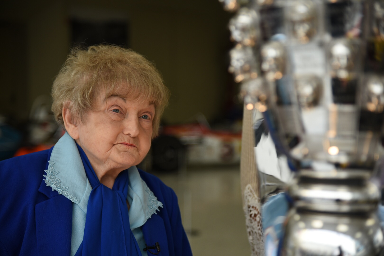 Eva Kor with the Borg Warner trophy.