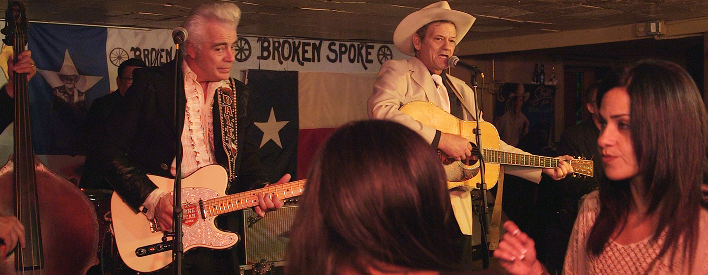 Singers Dale Watson and James Hand perform at the Broken Spoke dance hall