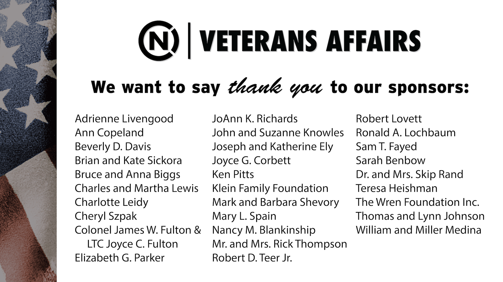 Thank you to our sponsors list.