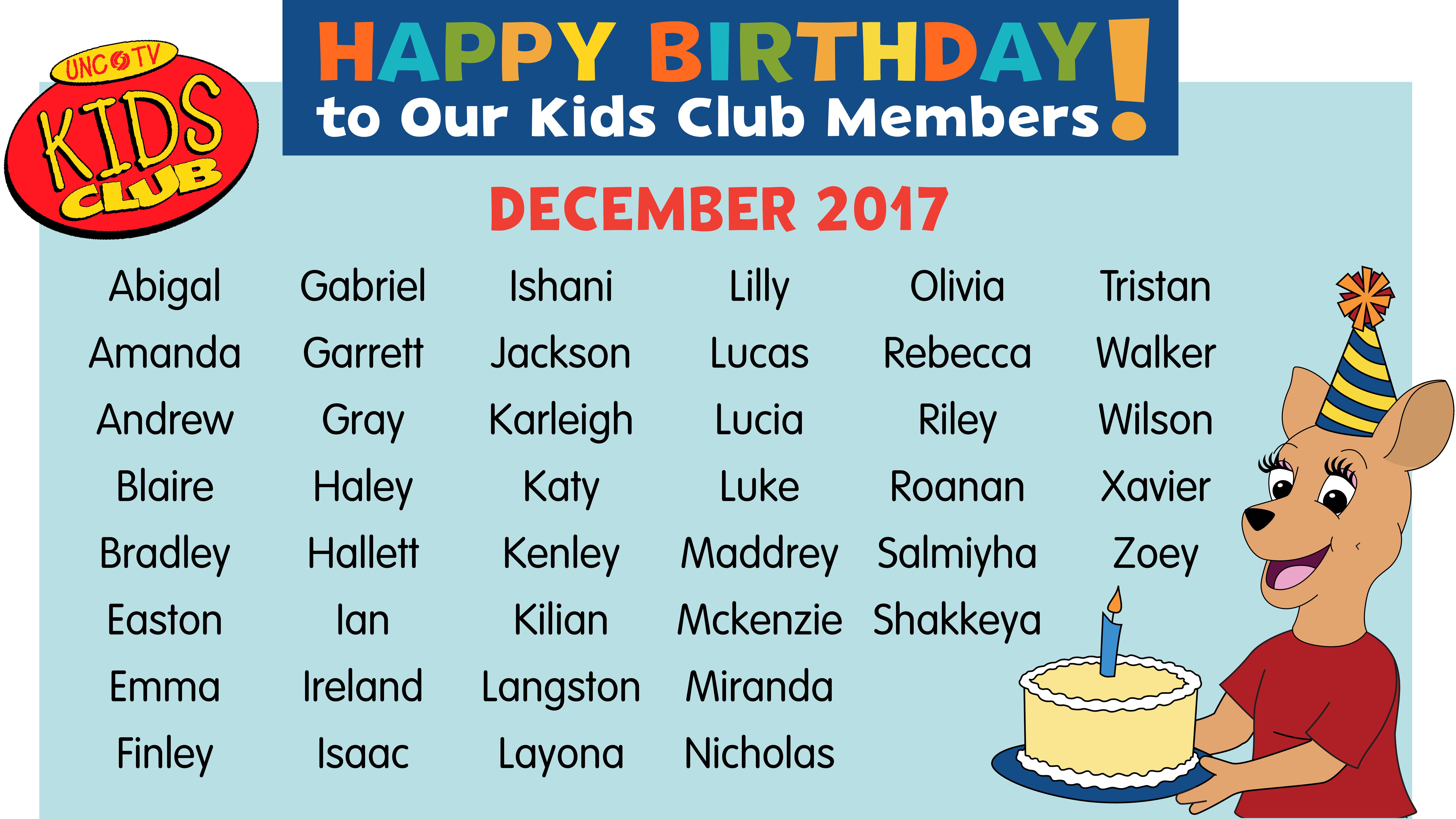 Happy Birthday in November, Kids Club Members!