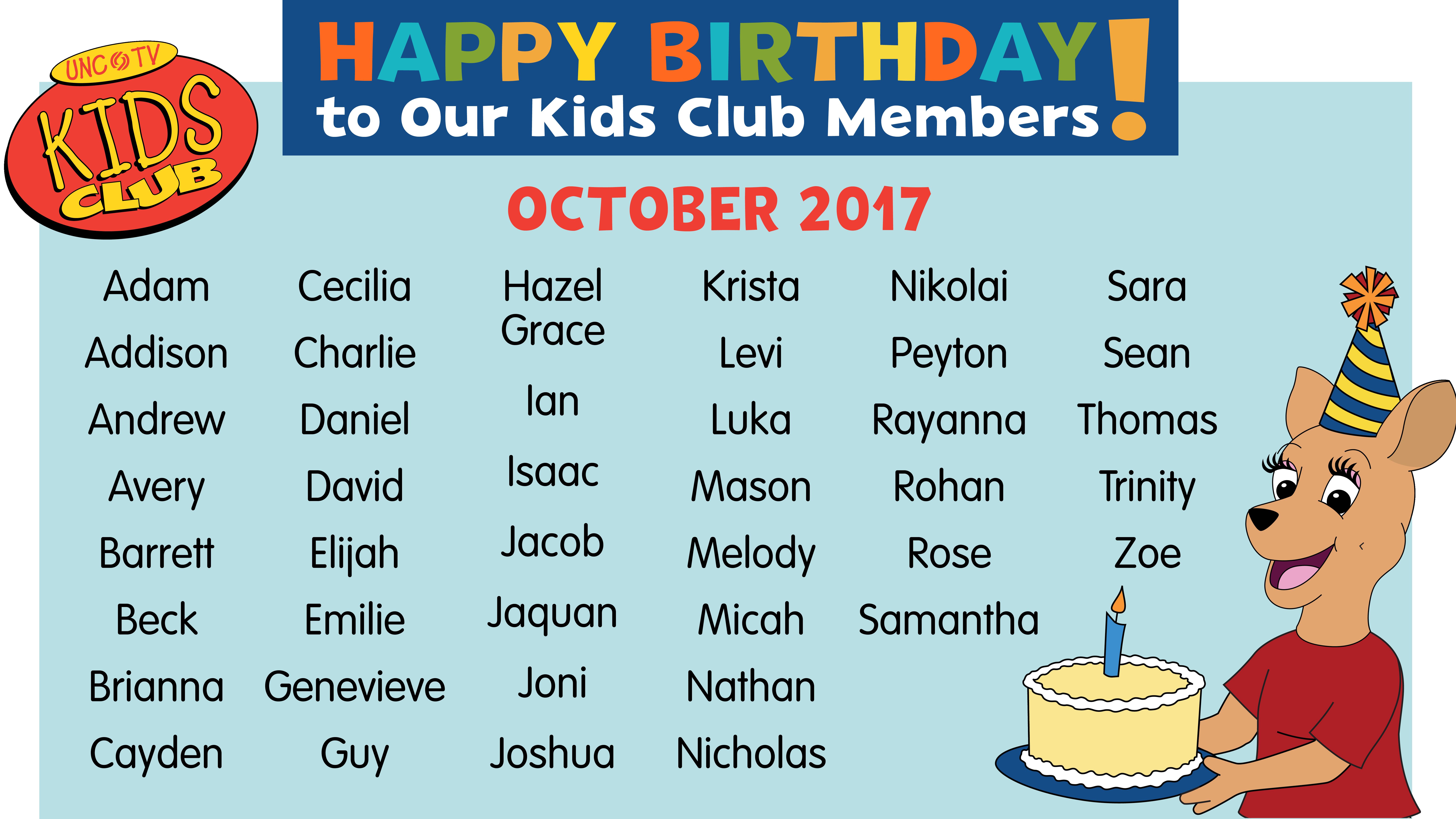 Kids Club June Birthdays