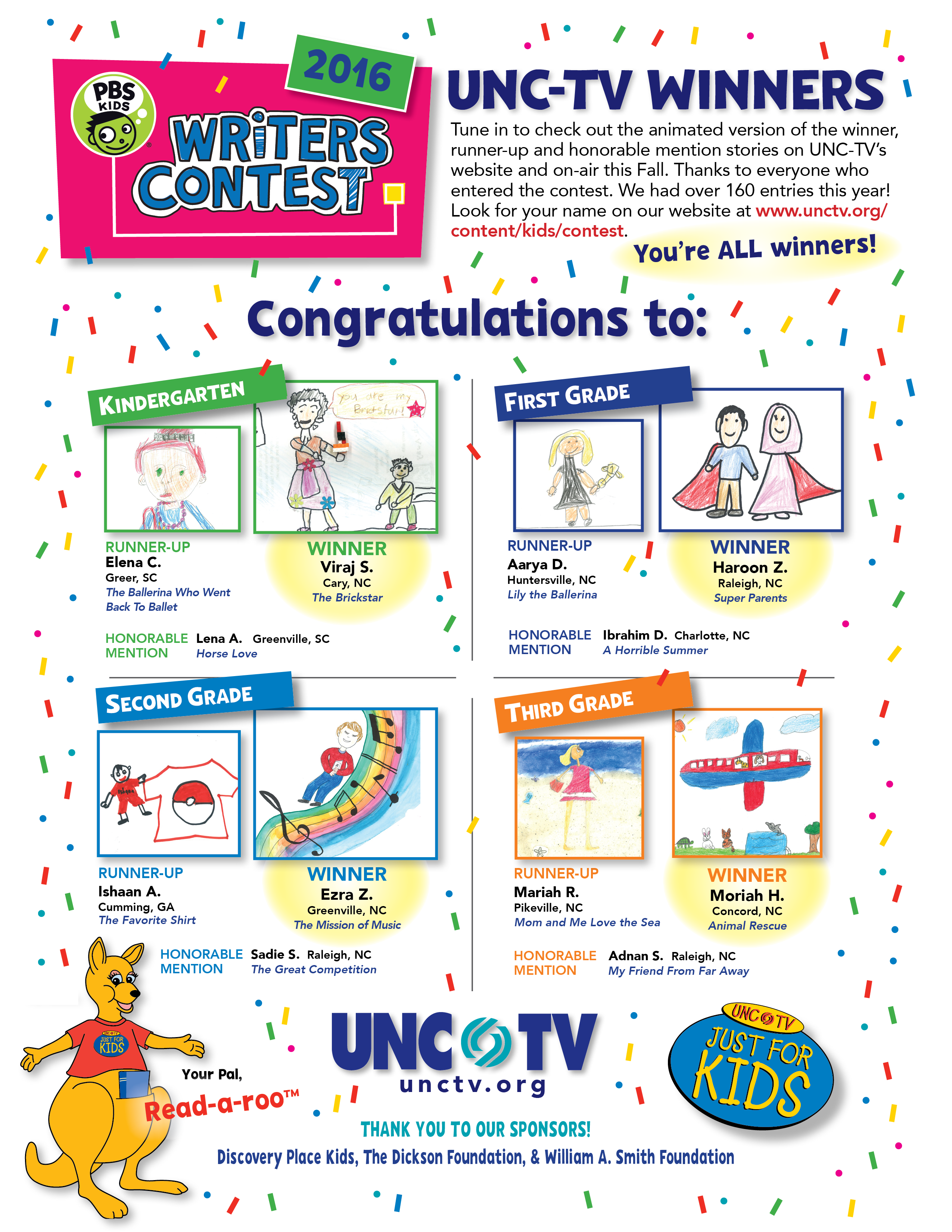 Writing Contest 2016 Winners Flyer