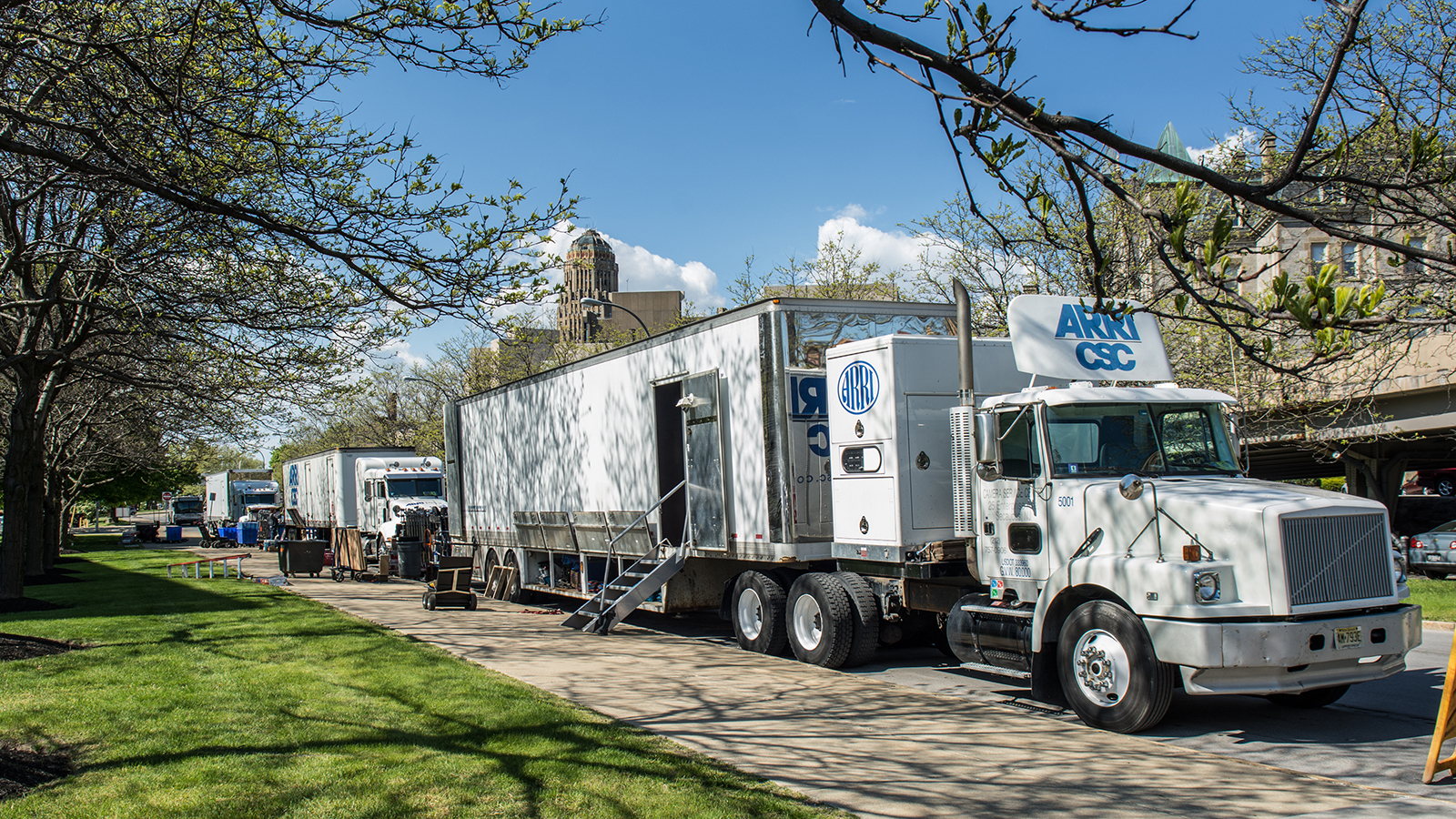 "Production trucks for the film ""Marshall,"" outside the WNED 