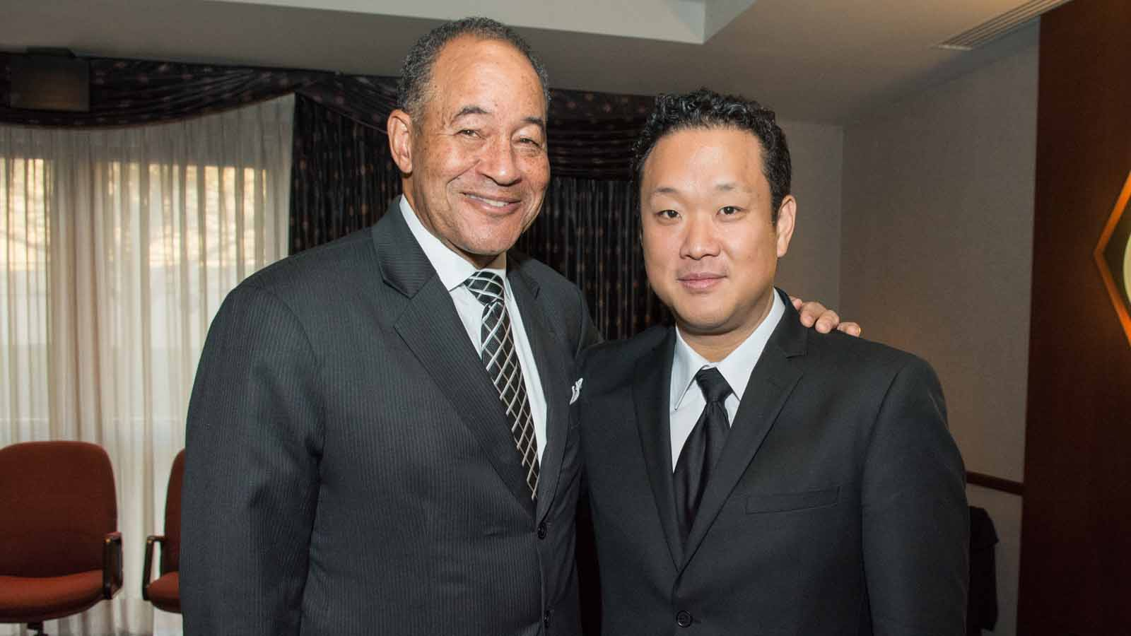 WNED | WBFO President and CEO Don Boswell poses with BPO Concertmaster Dennis Kim.