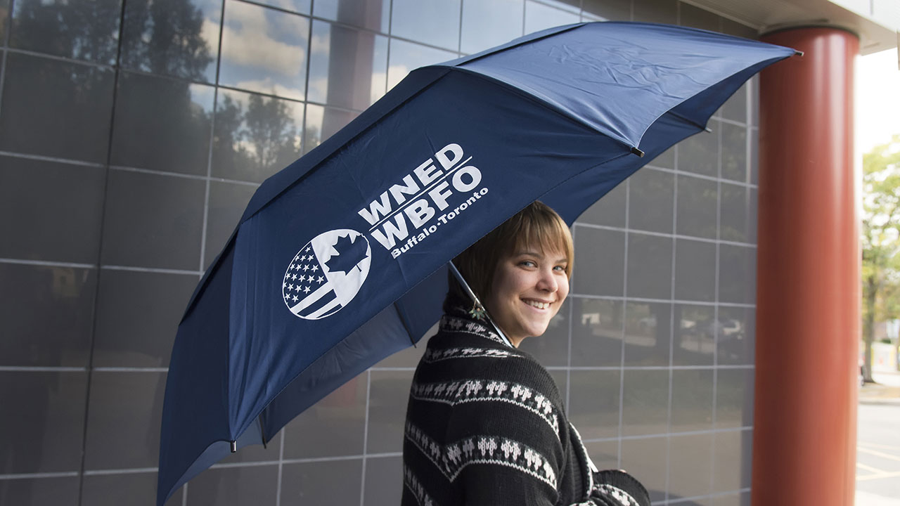 Umbrella: Vented folding golf Umbrella- Navy with WNED|WBFO