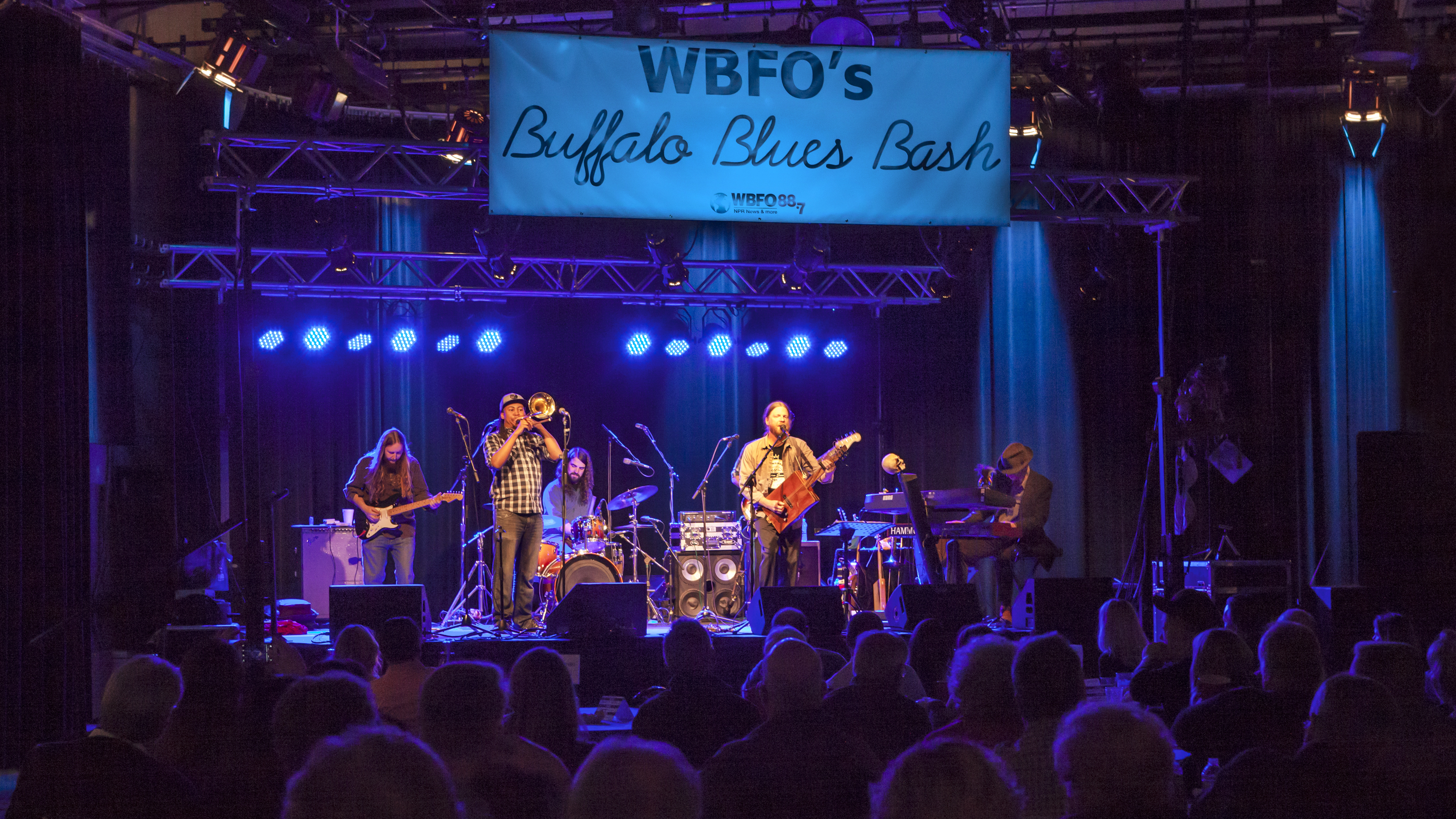 Ghost Town Blues Band, a modern blues band with an intimate knowledge of both blues, rock and improvisational jams at the April 2015 Blues Bash.