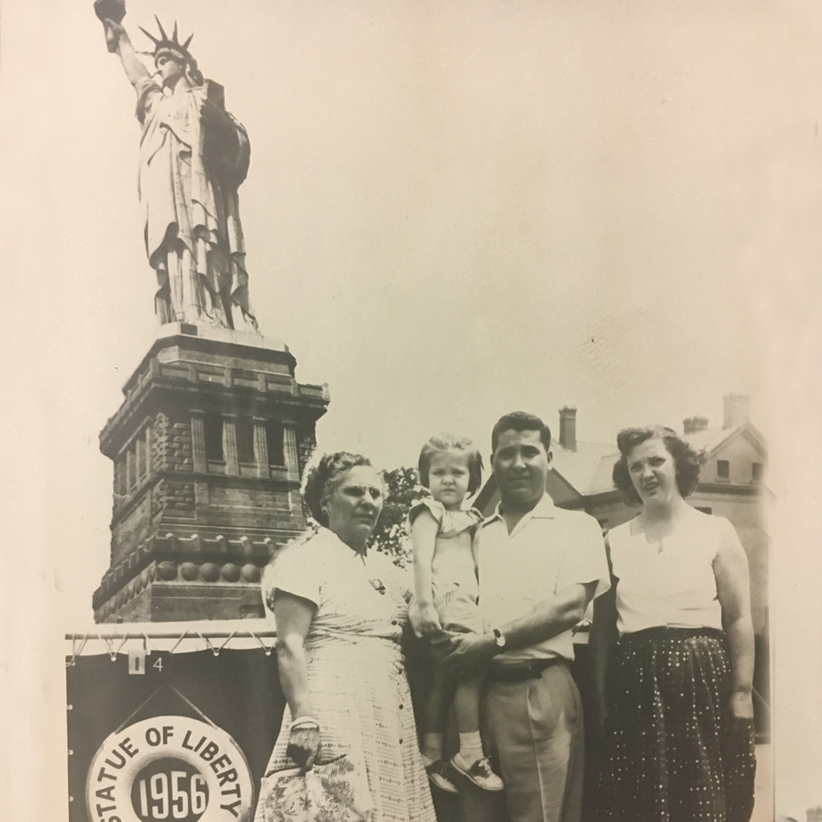 Grace Etiopia-Russo (age 60) pictured with her son Anthony and family in New York City in 1956