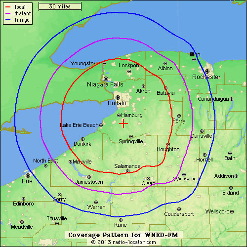 Coverage map for WNED-FM