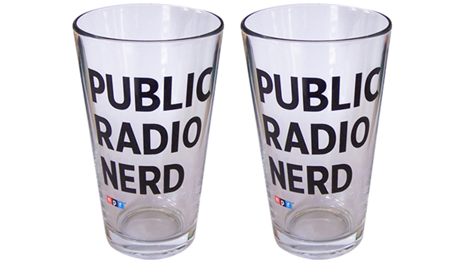Pint Glasses: Pair of NPR® Public Radio Nerd Pint Glasses