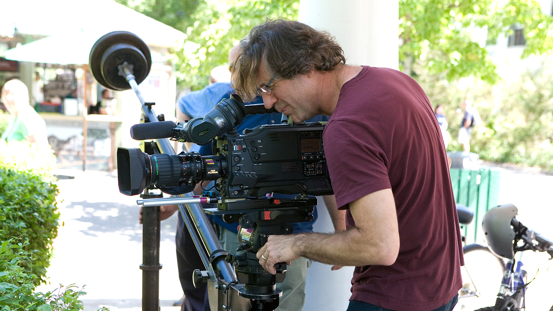 Cinematographer Jim Gribbins sets up for a shot for Chautauqua: An American Narrative.