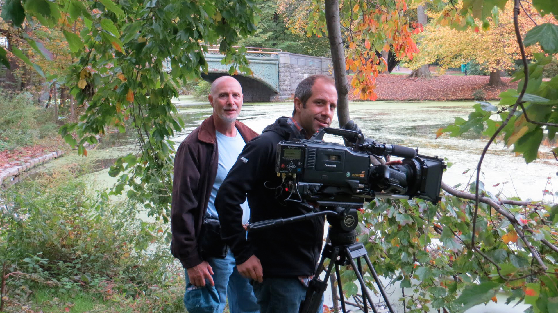 Director Larry Hott and cinematographer Jason Longo on location at Prospect Park