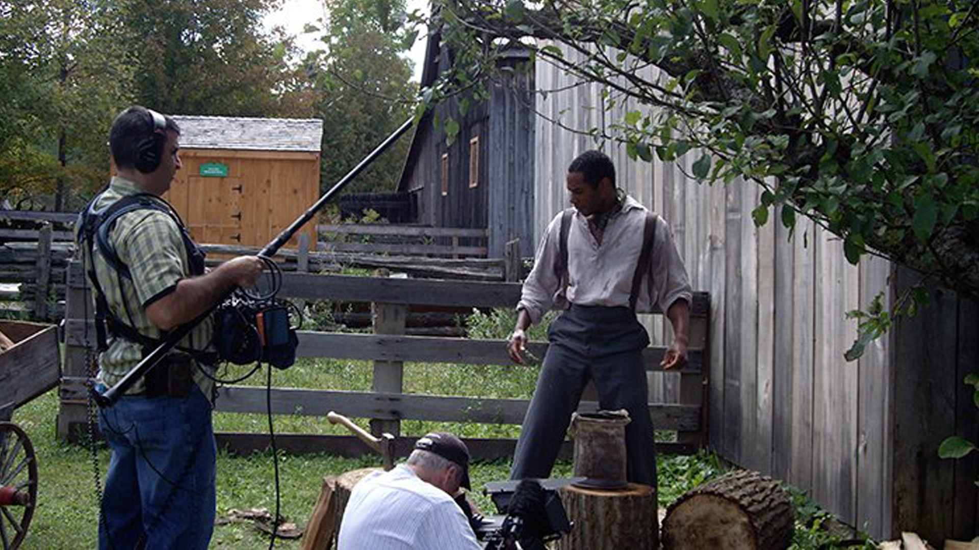 Crew captures a scene for Underground Railroad: The William Still Story.