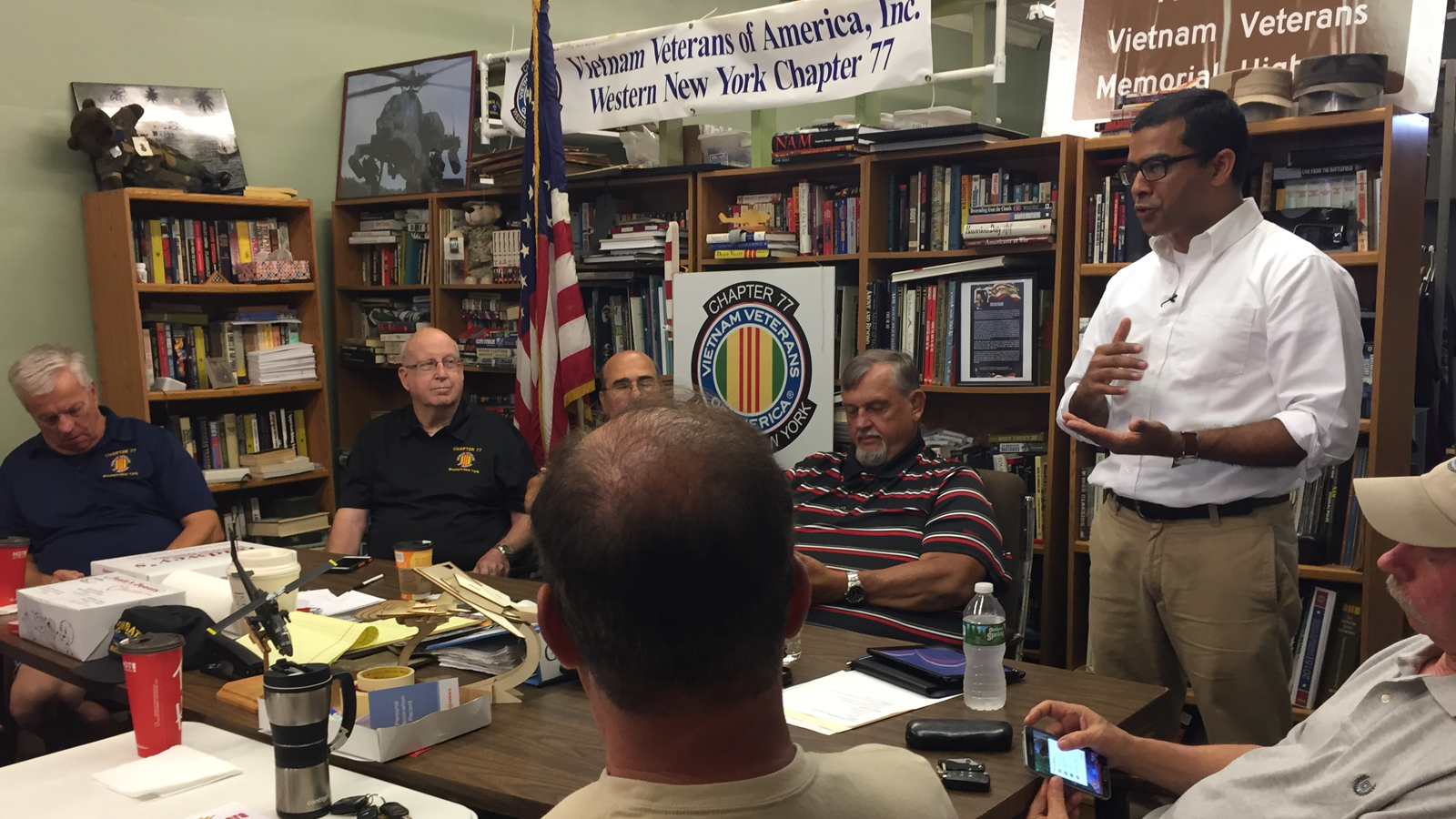 Thomas Chacko presents his findings at  at the local VVA chapter headquarters.