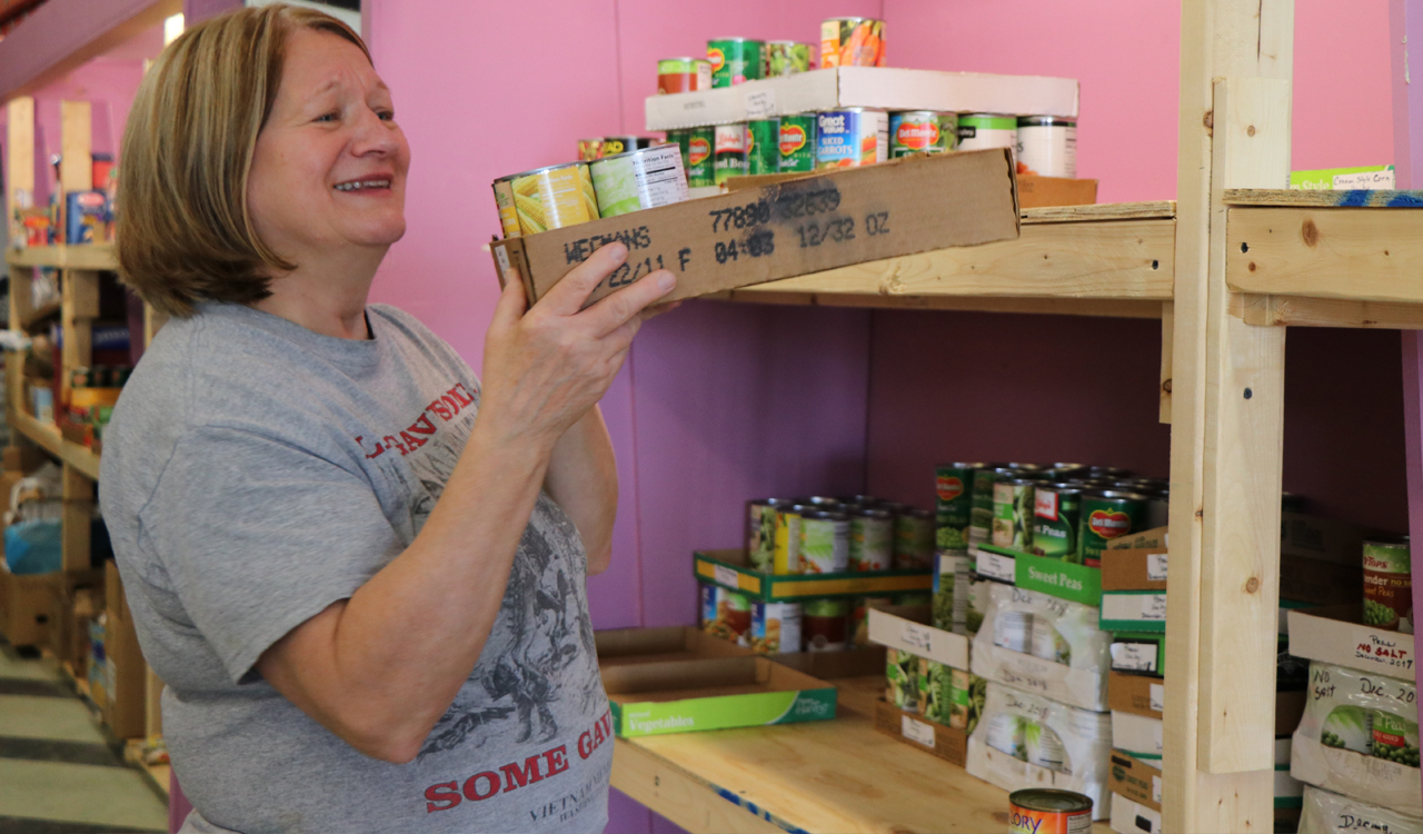 She volunteers to organize and distribute food to needy veterans from the Paul Rudnicki Food Pantry at Chapter 77 headquarters in Tonawanda, New York.
