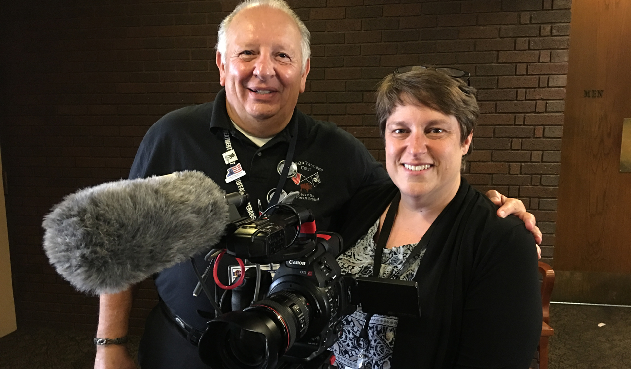 Dr. Patrick Welch with WNED-TV Senior Producer, Lynne Bader.  Dr. Welch is a Vietnam veteran and the first mentor in this groundbreaking court started in Buffalo, NY in 2008.