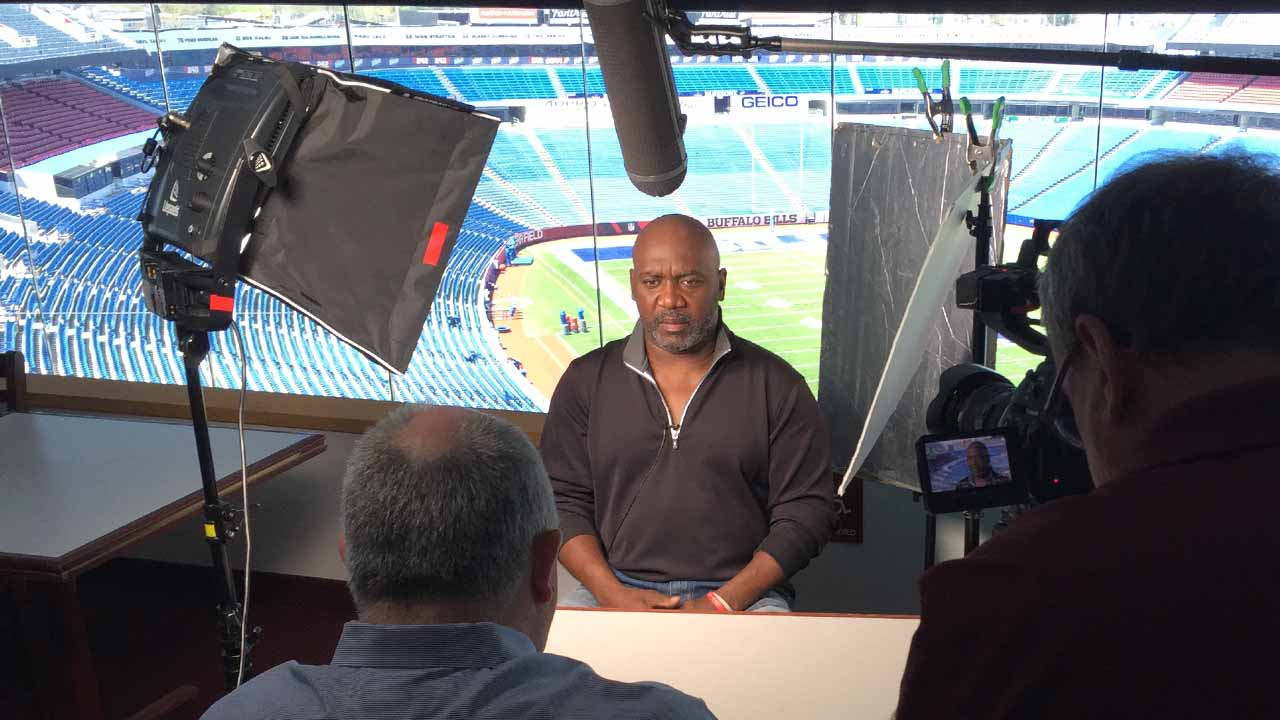 Thurman Thomas is interviewed for WNED-TV's RALPH, at New Era Field.