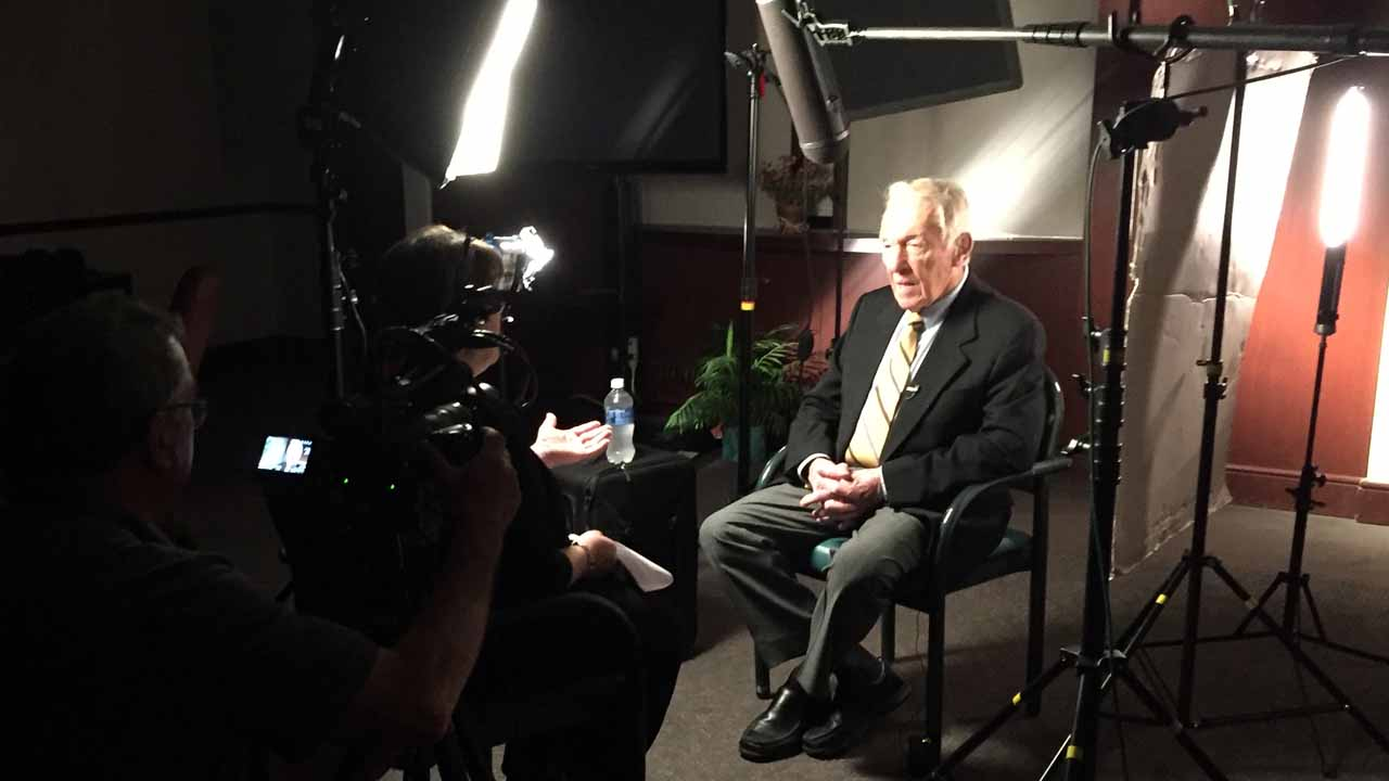 Marv Levy is interviewed for WNED-TV's RALPH