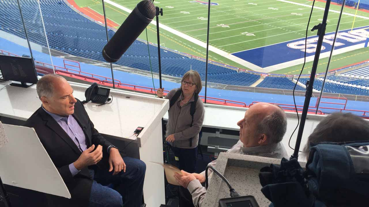 Vic Carucci is interviewed for WNED-TV's RALPH, at New Era Field.