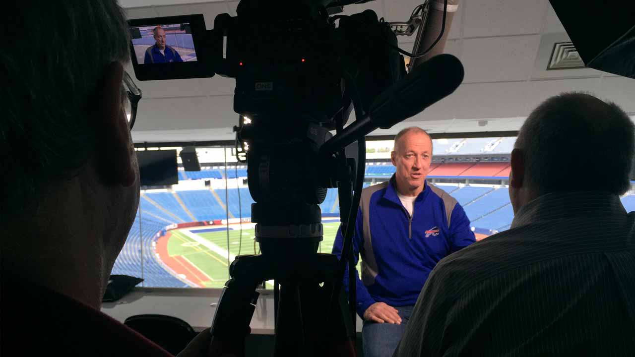Jim Kelly is interviewed for WNED-TV's RALPH, at New Era Field.