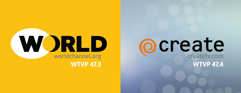 World Logo, worldchannel.org, wtvp 47.3 / Create Logo, createtv.com, wtvp 47.4