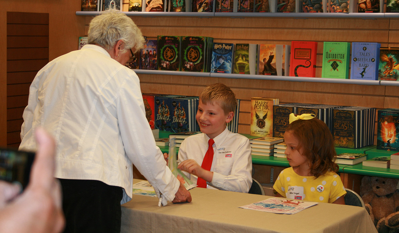 Ian and Mila at the book-signing table at Barnes and Noble