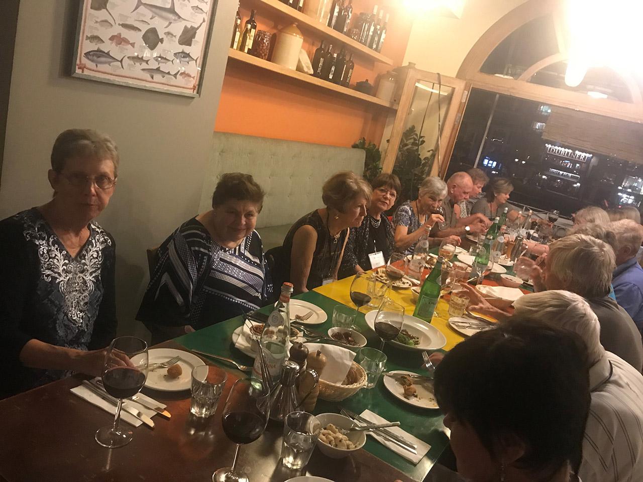 Travelers dinning