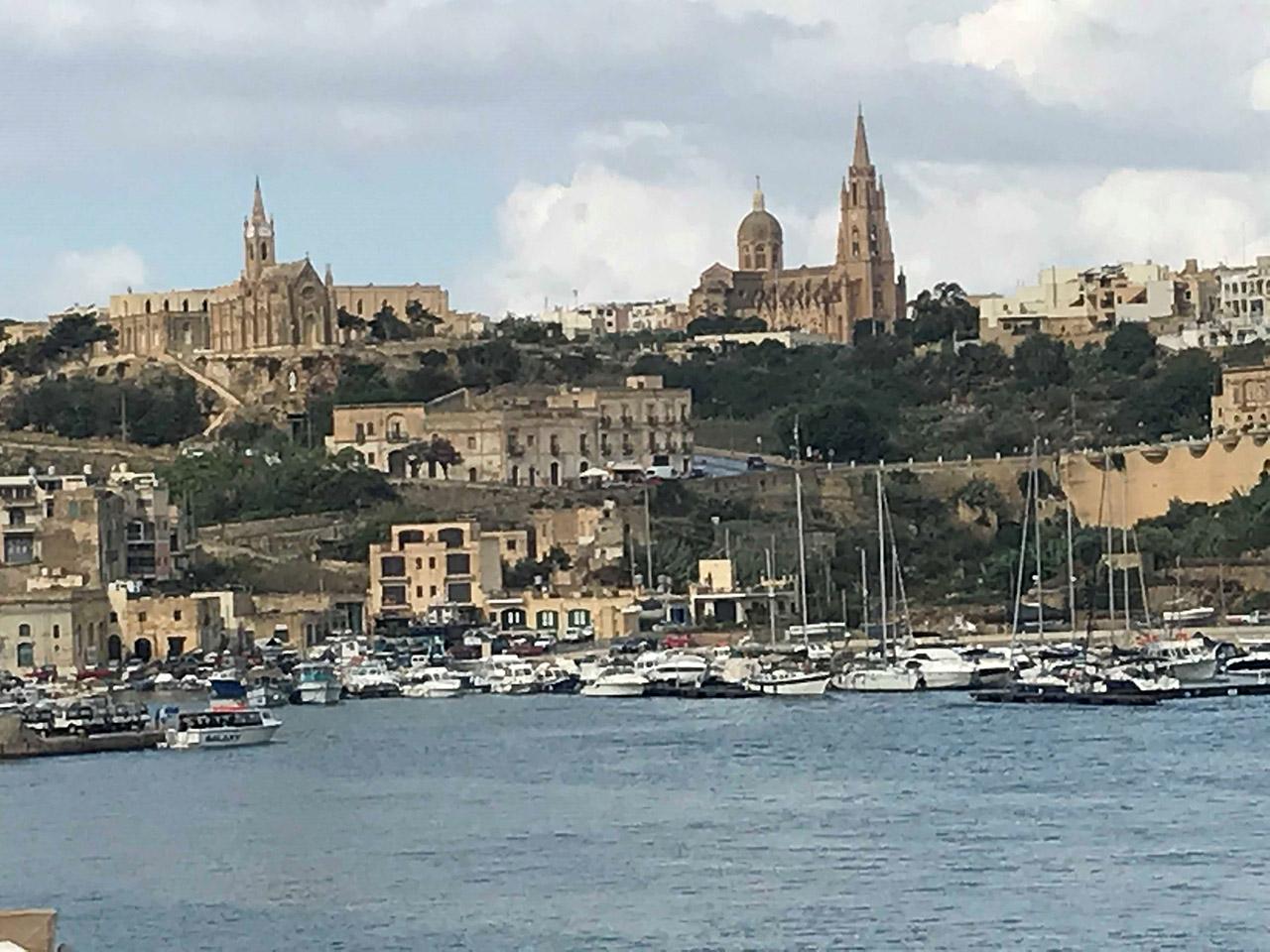 Wide shot of harbor in Gozo